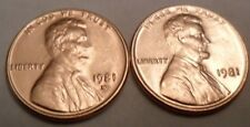 1981 P & D Lincoln Memorial Cent / Penny Set (2 Coins)  **FREE SHIPPING**