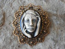 ZOMBIE, GYPSY, TATTOO WOMAN (HAND PAINTED) - GOLDEN BROOCH / PIN / PENDANT