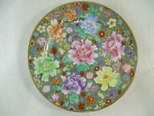 """Antique Chinese China Millefiori 1000 Flowers Porcelain Plate Dish 10"""" Wide Vtg"""