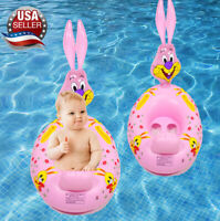 Pink bunny baby toddler kids Swimming inflatable pool float ring seat Toy