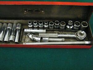 Wright Tools 1/4 Drive Ratchet Sockets Extensions Set 22 Piece METAL BOX