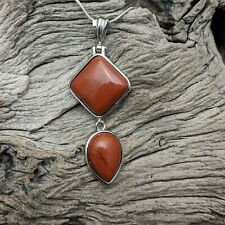 Silver Plated Red Jasper Tear Drop Pendant On Silver Plated Snake Necklace