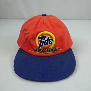 NASCAR Tide Racing 32 Ricky Craven Signed Orange Strapback Hat Cap