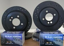 Graphite Sports Brake Discs Drilled Grooved Black Diamond pads MX5 Mk3 upgrade