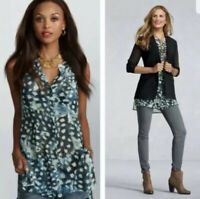New CAbi #416 XS Blue Avery Button Sleeveless Top Shirt Tunic Sheer Blouse