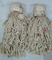 Vintage Set Of 2 Mop Head Dolls Handcrafted
