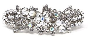 bridal hair barrette Rhinestones Crystal silver plated Metal hair claws clips