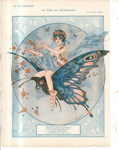 1916 La Vie Parisienne Original Butterfly Girl French art cover only by Fontan