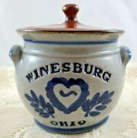 WINESBURG OHIO BLUE & BROWN CROCK/JAR