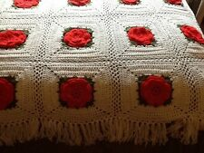 Hand made Crochet White 3D Red Roses Granny Square Afghan Throw 72 x 60