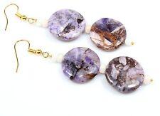 Rare Sugilite Ethiopian Opal Earrings Jewelry Gemstone 20 MM Birthday Gift Sale