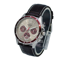 -Casio MTP1374L-7A1 Men's Leather Analog Watch New & 100% Authentic