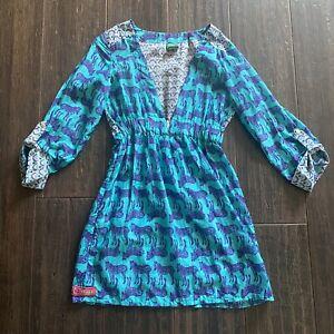 Maaji dress swimwear cover up medium blue zebra