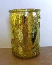 "HALLMARK EMBOSSED ""FLEUR DE LIS"" GOLD FLICKER GLASS CANDLE HOLDER 4"" Tall NWT"