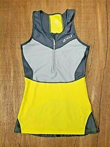 2XU Women's Compression Top Sleeveless Yellow/Gray Size Medium