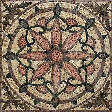 Abstract Lotus Compass Inlay Handmade Decor Marble Mosaic Geo2702