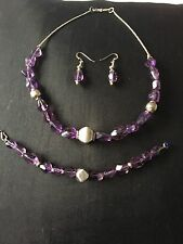 Amethyst And Silver Necklace Bracelet And Matching Earrings