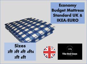 Economy Budget Mattress Standard UK & IKEA/EURO Sizes 2ft 3ft 4ft 4ft6 5ft 6ft