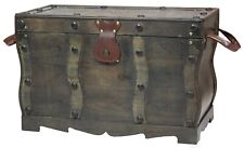 New Antique Style Distressed Wooden Pirate Treasure Chest, Coffee Table Trunk