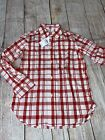 Gap XS 4-5 Kids Red White Plaid Dress Button Up Shirt 4th Of July Patriotic NEW