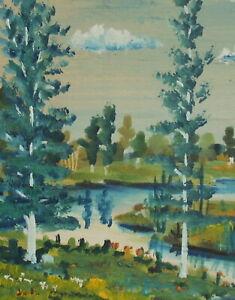 Vintage fauvist gouache painting river landscape