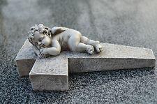 Grabengel Engel Schutzengel Grabschmuck Deko Engelfigur Trauerengel grau Kreuz