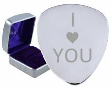 I Love You Heart Steel Guitar Plectrum Engraved - Optional Text On Box