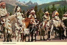 North American Indians on Horseback Headress Postcard