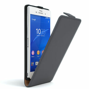 For Sony Xperia Z3 Flip Case cover Faux Leather Case Protection Phone Grey