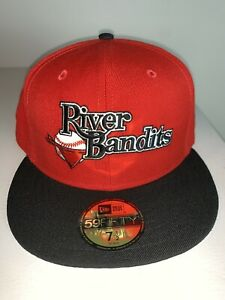 Men's New Era MILB Quad City River Bandits Red & Black Fitted Baseball Cap 8