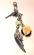 Vape Pen Mod Charm - Guns n Roses - Feather Lt Yellow Crystals - 1 Silicone Ring