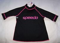 Speedo Endurance Girls Black Pink Sun Top Rash Vest Size 8 New