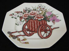 "Fitz and Floyd ""Flower Cart� 1979, eight sided floral design 7in plate"