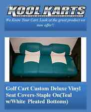 Custom Club Car Precedent Golf Cart Seat Covers-Front and Rear(Teal/Wht Plts)