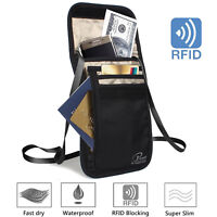 [Ultra-Slim] Black RFID Travel Neck Strap Passport Ticket Phone Money Wallet Bag