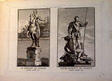ESCULTURA, Felipe IV , Carlos V Grabado original de Bourgoing, 1808,