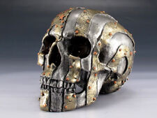 Skull Us Flag Metal Finish Figurine Statue Skeleton