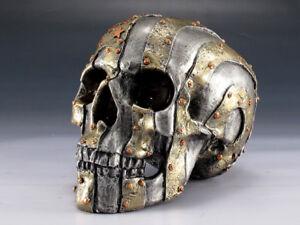 Skull US Flag Metal Finish Figurine Statue Skeleton Halloween