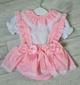 New SS21 Baby girl Spanish romper - jam pants / blouse with bow. PINK 0-36 month