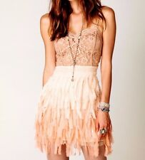 NWOT $248  FREE PEOPLE Feather Sheer Lace Slip Dress ☮ Size SMALL