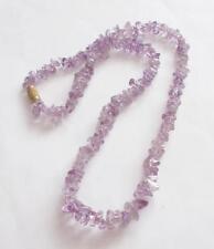 Vintage década de 1970 genuina amatista chips/collar con cuentas de piedras preciosas perlas
