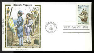 "U.S. FDC #2093 Colorano ""Silk"" Cachet Manteo, NC Roanoke Voyages"