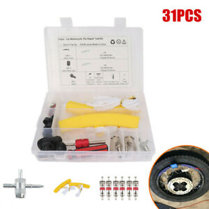 31PCS Vehicle Tire Protective Cover Repair Kit Chuck Valve Core Replacement Tool
