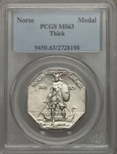 1925  NORSE-AMERICAN THICK COMMEMORATIVE MEDAL UNCIRCULATED, CERTIFIED PCGS-MS63