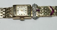 ANTIQUE 1 ct (REAL) DIAMOND & RUBY 14k yellow GOLD ladies watch (26 grams)