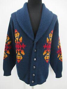 P5425 VTG Pendleton Men's 100% Wool Aztec Navajo Wester Cardigan Sweater Size XL