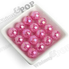 20mm Beads 12pcs Hot Pink Crackle AB Ice Cube Chunky Round Gumball Bubblegum