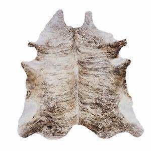 """Real Cowhide rug, large cow hide, hair on leather, beige brindle, 84"""" length rug"""