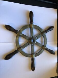 Vintage Brass ships / Boat Wheel 13 inch with 6 Spokes. Wooden handles
