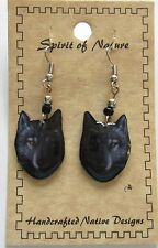 Earrings - Spirit of Nature Wolf's face -french wire beads dark gray